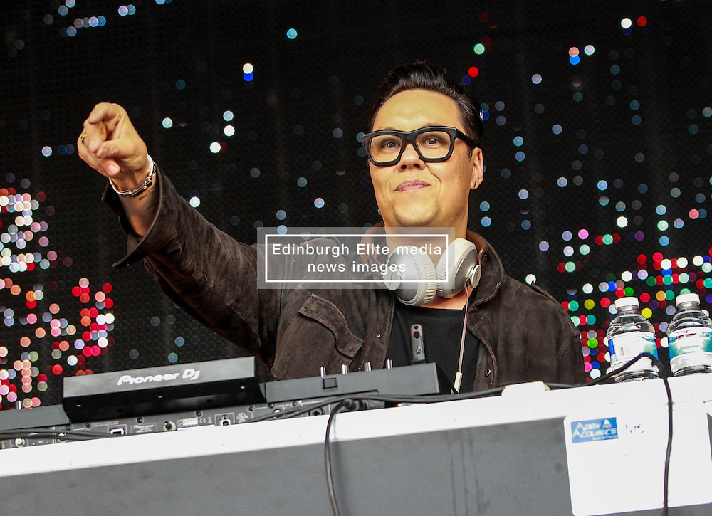 Pictured: TV celebrity Gok Wan performs a Dj set at Party at the Palace at Linlithgow Palace .Andrew West/ EEm