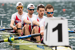 Schuerch Simon, Gyr Mario, Tramer Lucas and Niepmann Simon of Switzerland competing during qualifying round  Rowing World Cup on May 9, 2015, at Bled's lake, Bled, Slovenia. (Photo by Grega Valancic / Sportida)
