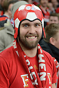 Bayern Munich fan during the Champions League  Group F match between Arsenal and Bayern Munich at the Emirates Stadium, London, England on 20 October 2015. Photo by Alan Franklin.