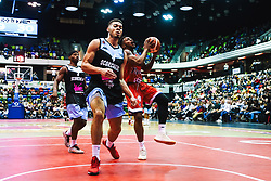 Panos Mayindombe in action as Bristol Flyers play Surrey Sharks for the second time - Rogan/JMP - 14/10/2018 - BASKETBALL - Copper Box Arena - London, England - British Basketball All-Stars Championship 2018.