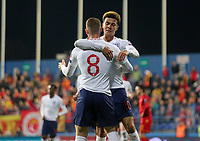 PODGORICA, MONTENEGRO - MARCH 25: England's Ross Barkley and Dele Alli celebrates goal during the 2020 UEFA European Championships group A qualifying match between Montenegro and England at Podgorica City Stadium on March 25, 2019 in Podgorica, Montenegro. (MB Media)