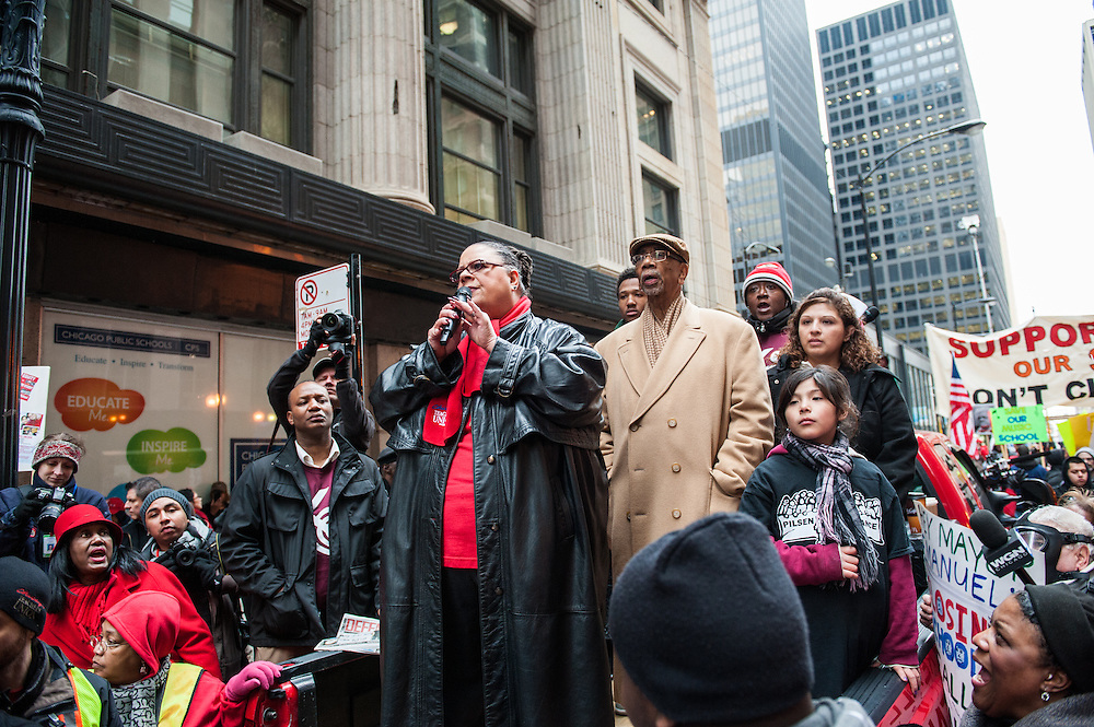 Chicago Teachers Union President Karen Lewis speaks out opposing the closing of 53 Chicago public schools.