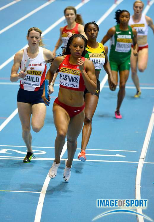 Mar 9, 2014; Sopot, Poland; Natasha Hastings runs the first leg on the United States womens 4 x 400m relay that won in 3:24.83 in the IAAF World Indoor Championships in Athletics at Ergo Arena.