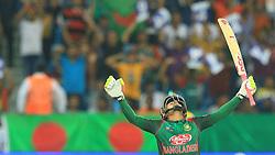 September 15, 2018 - Dubai, United Arab Emirates - Bangaldesh cricketer Mushfiqur Rahim celebrates his 100 runs during the first  cricket match  of Asia Cup 2018 between  Sri Lanka and Bangladesh in Dubai, United Arab Emirates, 9-15-2018  (Credit Image: © Tharaka Basnayaka/NurPhoto/ZUMA Press)