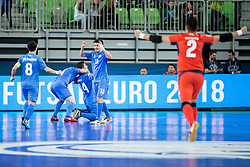 Players of team Kazakhstan celebrate goal during futsal match between Poland and Kazakhstan at Day 3 of UEFA Futsal EURO 2018, on February 1, 2018 in Arena Stozice, Ljubljana, Slovenia. Photo by Urban Urbanc / Sportida