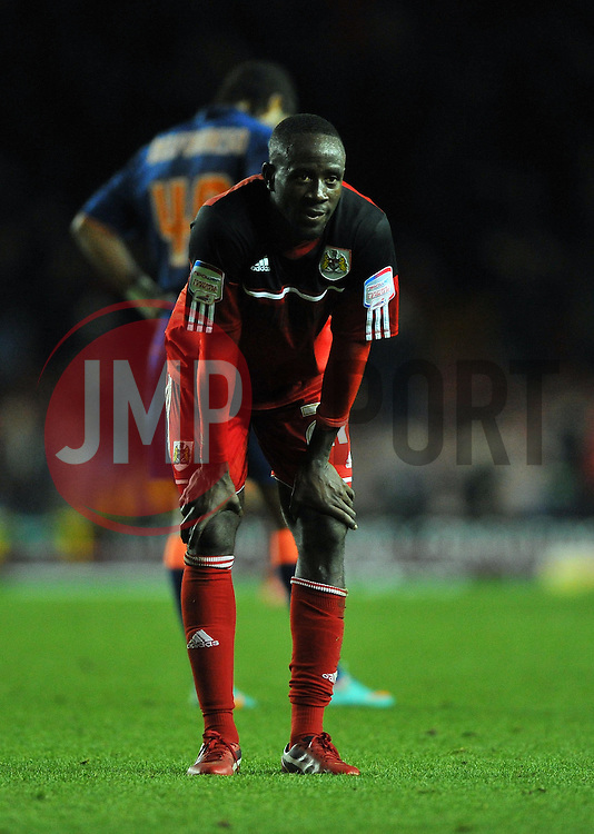 Bristol City's Albert Adomah cuts a dejected figure on the final whistle - Photo mandatory by-line: Joe Meredith/JMP  - Tel: Mobile:07966 386802 17/11/2012 - Bristol City v Blackpool - SPORT - FOOTBALL - Championship -  Bristol  - Ashton Gate Stadium -