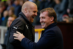 Liverpool Manager Brendan Rodgers is greeted by Burnley Manager Sean Dyche  - Photo mandatory by-line: Rogan Thomson/JMP - 07966 386802 - 26/12/2014 - SPORT - FOOTBALL - Burnley, England - Turf Moor Stadium - Burnley v Liverpool - Boxing Day Christmas Football - Barclays Premier League.