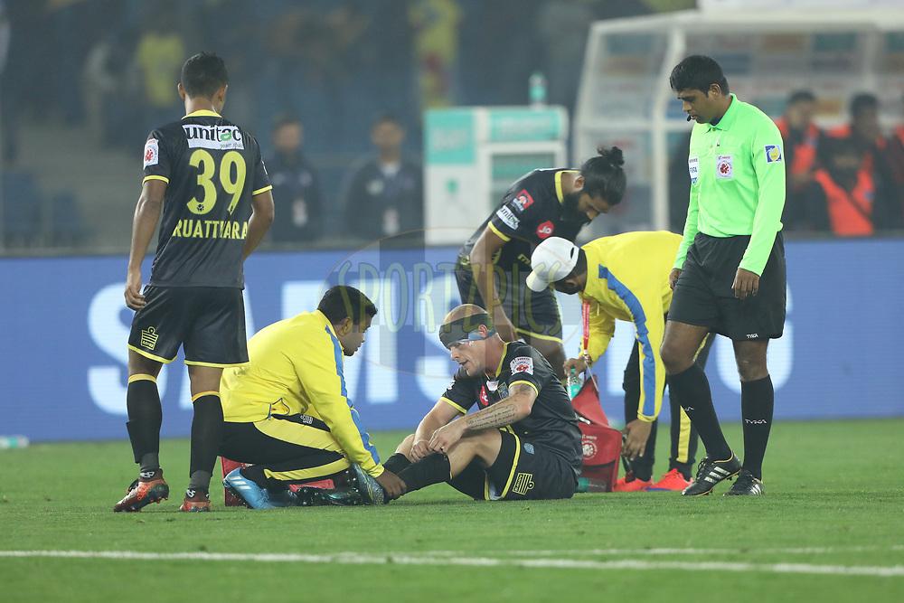 Iain Hume of Kerala Blasters FC  injurd during match 43 of the Hero Indian Super League between Delhi Dynamos FC and Kerala Blasters FC  held at the Jawaharlal Nehru Stadium, Delhi, India on the 10th January 2018<br /> <br /> Photo by: Arjun Singh  / ISL / SPORTZPICS