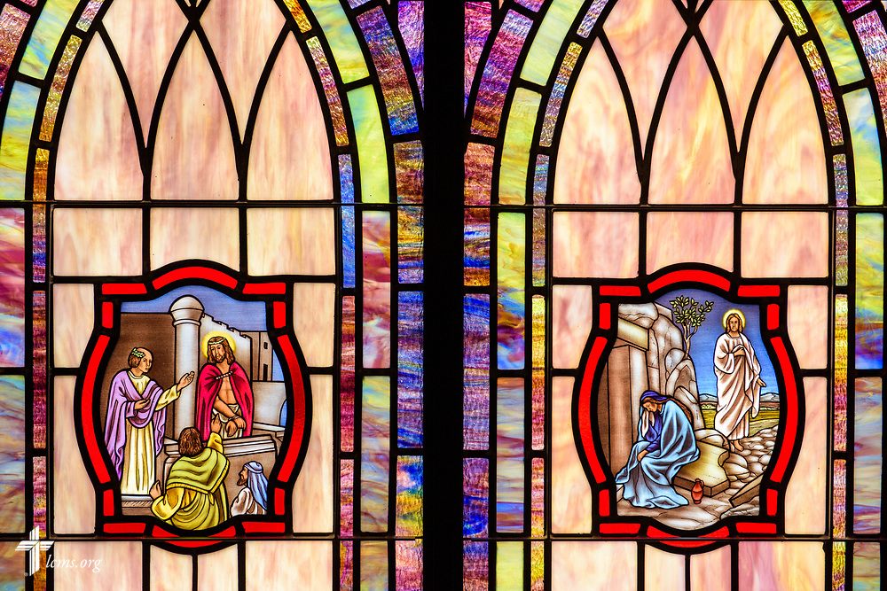 Stained glass depicting Jesus before Pilate (Luke 23) and  the resurrection of Jesus Christ (John 20:11) and weeping Mary Magdalene outside the tomb, at St. John's Lutheran Church, Conover, N.C, on Friday, April 21, 2017. LCMS Communications/Erik M. Lunsford