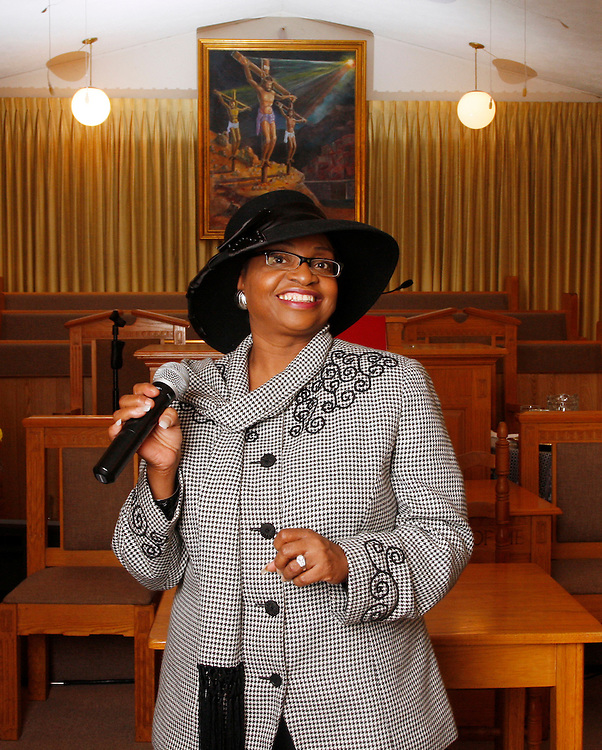 Kathy Daniel, the first female minister at Morton Chapel Baptist Church, poses for a portrait Sunday at her church.