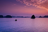 Colorful sunset over Halong Bay in Vietnam.