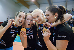 Anja Kavcic of Calcit Volleyball, Lana Scuka of Calcit Volleyball, Nika Mori of Calcit Volleyball and Tjasa Turnsek of Calcit Volleyball celebrates after winning during match between OK Nova KBM Branik and OK Calcit Volleyball in Finals of Slovenian Women Volleyball Cup 2013/14 on December 27, 2013 in Hoce, Slovenia.  Calcit Volleyball won 3-1 and became Slovenian Cup Champion 2013/14. Photo by Vid Ponikvar / Sportida