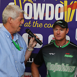Durban South Africa - Brett Proctor chats to Lance Klusener (Head Coach) of the Sunfoil Dolphins during the joint announcement by Hollywoodbets, Cell C, the Sunfoil Dolphins and the Cell C Sharks at the President Suite at Sahara Stadium Kingsmead.Sahara Stadium Kingsmead (Photo by Steve Haag)images for social media must have consent from Steve Haag