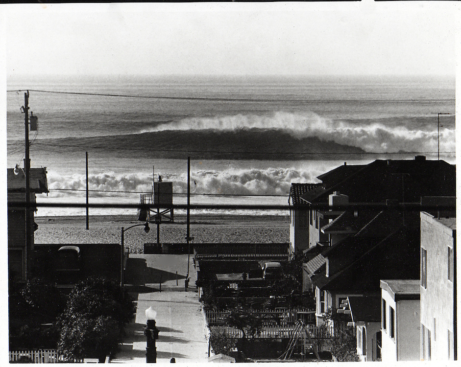 Taken during the huge swell of Januray 1969 as I walked to my car at 18th St in Hermosa Beach. There is a reef off of 18th St that takes this kind of surf to show, and it happens maybe once every twenty years.