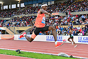 Pablo Pichardo, aka Pedro Pablo Pichardo (POR) places second in the triple jump at 57-9 1/2 (17.61m) during the 2018 Athletissima in an IAAF Diamond League meeting at Stade Olympique de la Pontaise in Lausanne, Switzerland on Thursday, July 5, 2018. (Jiro Mochizuki/Image of Sport)