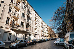 View of apartment buildings on Esmarchstrasse in gentrified Prenzlauer Berg in Berlin, Germany