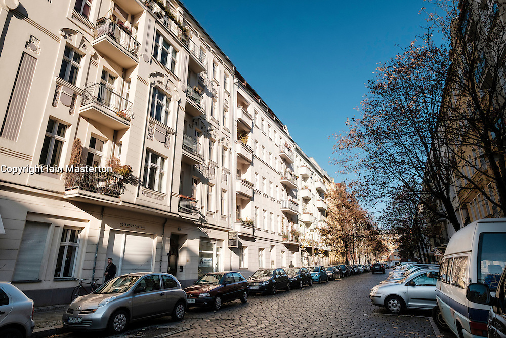 View of apartment buildings on Esmarchstrasse in gentrified Prenzlauer Berg in Berlin, Germany