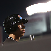 NEW YORK, NEW YORK - July 05: Christian Yelich #21 of the Miami Marlins heads out to bat during the Miami Marlins Vs New York Mets regular season MLB game at Citi Field on July 05, 2016 in New York City. (Photo by Tim Clayton/Corbis via Getty Images)