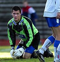 Raufoss 28092003 Raufoss Fotball - FK Haugesund 4-1. Haugesundkeeper Jan Kjell Larsen depper etter å ha sluppet inn mål.<br /> <br /> Foto: Digitalsport