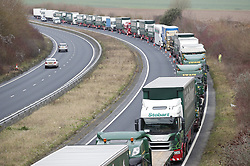 © Licensed to London News Pictures. 07/01/2019. Dover, UK. Trucks are seen on the road approaching Dover as they take part in a no-deal Brexit planning exercise.  89 lorries are testing traffic conditions on the 20 mile route between Manston and the Port of Dover. Photo credit: Peter Macdiarmid/LNP