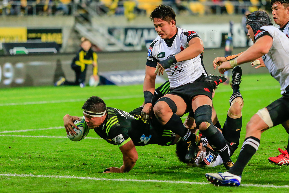 during the Super Rugby union game between Hurricanes and Sunwolves, played at Westpac Stadium, Wellington, New Zealand on 27 April 2018.   Hurricanes won 43-15.