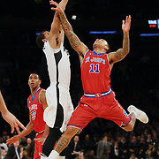Christian Jones, (right), St John's, has his shot blocked late in the game by Josh Fortune, Providence, during the Providence Vs St. John's Red Storm basketball game during the Big East Conference Tournament at Madison Square Garden, New York, USA. 12th March 2014. Photo Tim Clayton