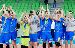 Players of Slovenia celebrate after winning the volleyball match between National Teams of Slovenia and Croatia in 2nd leg of Eurovolley 2013 Qualifications on June 8, 2013 in Arena Stozice, Ljubljana, Slovenia. (Photo By Vid Ponikvar / Sportida)