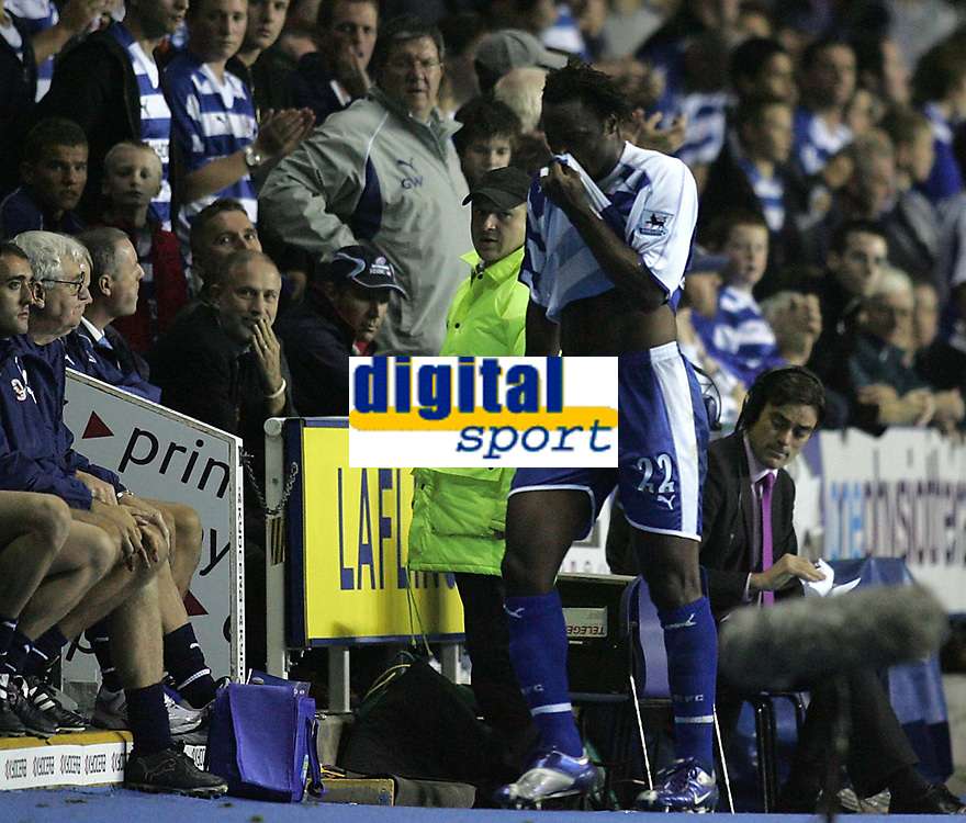 Photo: Lee Earle.<br /> Reading v Chelsea. The Barclays Premiership. 14/10/2006. Reading's Andre Bikey leaves the pitch after being shown the red card.