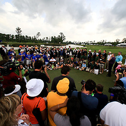 2009 April 26: Jerry Kelly of Madison, WI is presented with the Zurich Classic of New Orleans Trophy on the 18th green following the final round of the Zurich Classic of New Orleans PGA Tour golf tournament played at TPC Louisiana in Avondale, Louisiana.