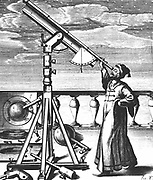 Hevelius observing through refracting telescope on stand fitted with quadrant and plumb-bob so altitude of object observed could be noted. From Johannes Hevelius 'Selenographia' Gedani (Gdansk/Danzig) 1647.