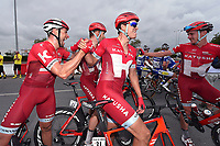 Arrival, KRISTOFF Alexander (NOR) winner, MORKOV Michael (DEN), HALLER Marco (AUT), VAN DEN BROECK Jurgen (BEL), joy Team Katusha, during the 7th Tour of Oman 2016, Stage 3, Al Sawadi Beach - Naseem Park (176,5Km), on February 18, 2016 - Photo Tim de Waele / DPPI