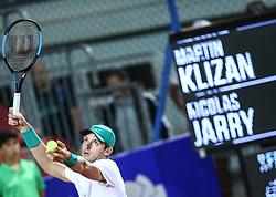 Umag, July 17, 2018  Nicolas Jarry  of Chile competes against Martin Klizan of Slovakia during the first round of 2018 ATP Plava laguna Croatia Open Umag tennis tournamet in Umag, Croatia, on July 17, 2018. Martin Klizan won 6:2, 6:0  (Credit Image: © Igor Soban/Xinhua/Xinhua via ZUMA Wire)