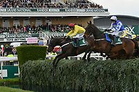 National Hunt Horse Racing - 2019 Randox Health Grand National Festival - Friday, Day Two (Ladies Day)<br /> <br /> Winner P Townend  on Cadmium jumps the Water Jump following Nico de Boinville on OO Seven  <br /> the 16:05 Randox Health Topham Handicap Chase (Grade 3) (National Course)) at Aintree Racecourse.<br /> <br /> COLORSPORT/WINSTON BYNORTH