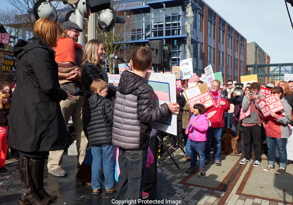 A decline to sign I-1552 rally in downtown Tacoma, Washington, Saturday, Feb. 25, 2017. The voter  initiative—I-1552—would repeal protections for transgender Washingtonians. (Photo/John Froschauer)