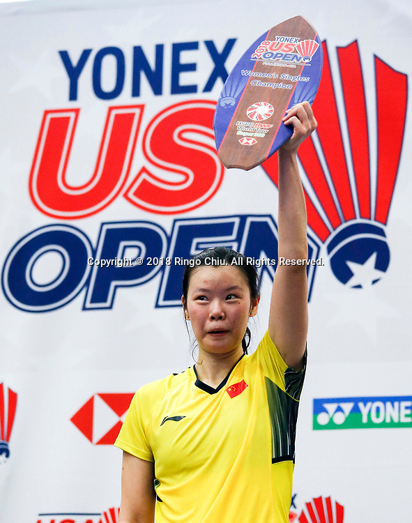 China's Li Xuerui claims title of U.S. Open Badminton Championships women's singles <br /> <br /> Li Xuerui of China, celebrates with her trophy after defeating  Beiwen Zhang of USA, during the women's singles final match at the U.S. Open Badminton Championships in Los Angeles, the United State on June 17, 2018. Li won 2-1. (Xinhua/Zhao Hanrong)<br /> (Photo by Ringo Chiu)<br /> <br /> Usage Notes: This content is intended for editorial use only. For other uses, additional clearances may be required.