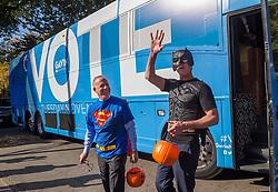 October 31, 2018 - Sacramento, CA, USA - Lt. Governor Gavin Newsom, Batman,and Sacramento Mayor Darrell Steinberg, Superman, arrive to pass out candy at the Penleigh Child Development Center on Wednesday, October 31, 2018 in Sacramento. (Credit Image: © Paul Kitagaki Jr./ZUMA Wire)