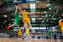 Aleksandar Lazic of Petrol Olimpija vs Luka Voncina of Sixt Primorska during basketball match between KK Sixt Primorska and KK Petrol Olimpija in semifinal of Spar Cup 2018/19, on February 16, 2019 in Arena Bonifika, Koper / Capodistria, Slovenia. Photo by Vid Ponikvar / Sportida