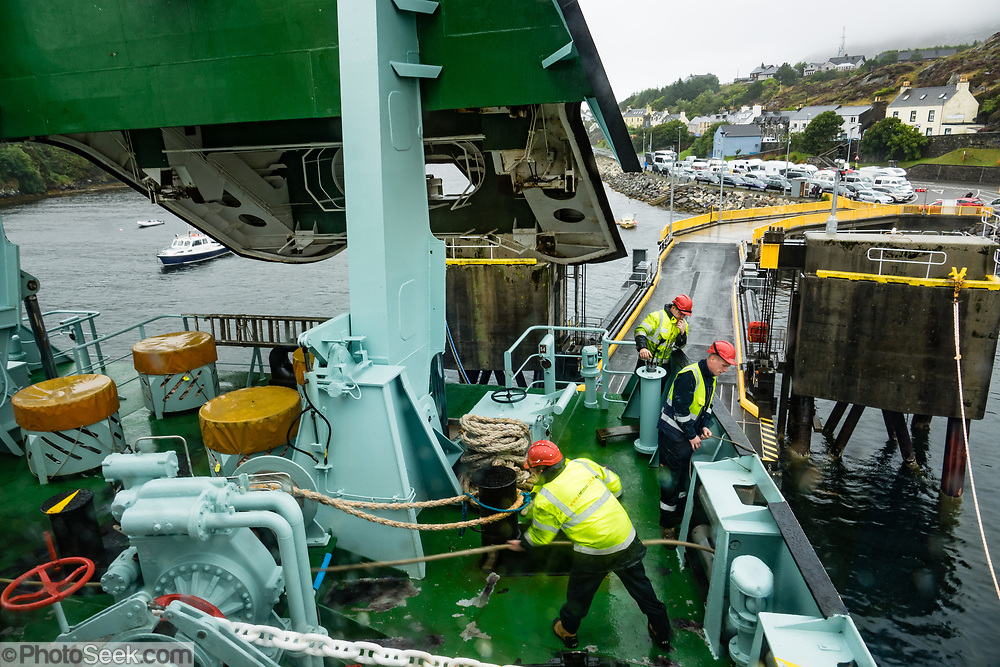 """Landing at the ferry terminal at Tarbert, the main town of Harris in the Outer Hebrides (Western Isles) of Scotland, United Kingdom, Europe. In Gaelic, Tarbert means """"isthmus,"""" """"crossing point"""" or """"portage"""". The Tarbert ferry connects to Uig on Skye."""