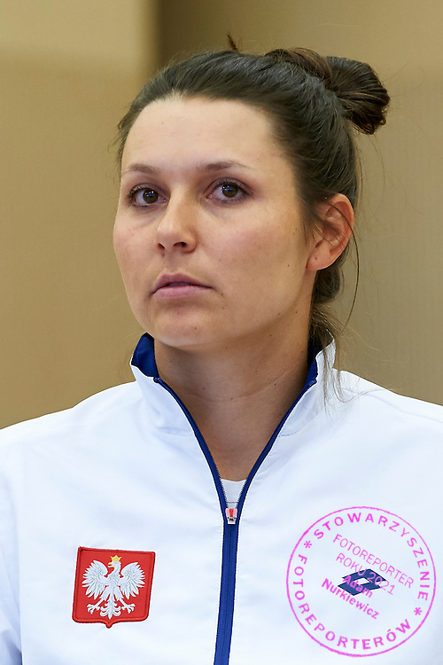 Klaudia Jans Ignacik from Poland during official draw one day before the Fed Cup / World Group 1st round tennis match between Poland and Russia at Holiday Inn on February 6, 2015 in Cracow, Poland.<br /> <br /> Poland, Cracow, February 6, 2015<br /> <br /> Picture also available in RAW (NEF) or TIFF format on special request.<br /> <br /> For editorial use only. Any commercial or promotional use requires permission.<br /> <br /> Adam Nurkiewicz declares that he has no rights to the image of people at the photographs of his authorship.<br /> <br /> Mandatory credit:<br /> Photo by &copy; Adam Nurkiewicz / Mediasport