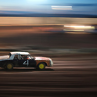 Bradford Bodley speeds up in his stock car during the races at Uranium Capitol Speedway in Milan Saturday.