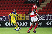 AFC Wimbledon striker Andy Barcham (17) dribbling during the EFL Trophy match between Charlton Athletic and AFC Wimbledon at The Valley, London, England on 4 September 2018.