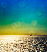 Sun flare on an afternoon sailboat in Long Island Sound
