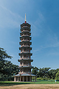 Richmond Upon Thames, London, England, UK, July 7 2018 - Great Pagoda at Kew Gardens.  It was erected in 1762, from a design in imitation of the Chinese Ta.<br /> Kew Gardens (or Royal Botanical Gardens, Kew) is a botanical garden in southwest London. It is one of London's top tourist attractions and is a World Heritage Site. The site of 121 hectares opened in 1759 and houses more than 30,000 different kinds of plants and 40 listed buildings and structures, including the world's greatest glasshouse.