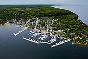 Aerial view of Fish Creek, Door County, Wisconsin.