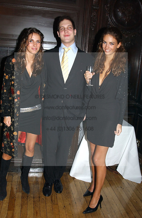 Left to right, MISS MARINA HANBURY, LORD FREDERICK WINDSOR and MISS ROSE HANBURY at a party to celebrate the publication of Andrew Robert's new book 'Waterloo: Napoleon's Last Gamble' and the launch of the paperback version of Leonie Fried's book 'Catherine de Medici' held at the English-Speaking Union, Dartmouth House, 37 Charles Street, London W1 on 8th February 2005.<br />