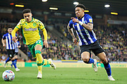 Sheffield Wednesday defender Liam Palmer (2) takes on Norwich City defender Max Aarons (37) during the EFL Sky Bet Championship match between Norwich City and Sheffield Wednesday at Carrow Road, Norwich, England on 19 April 2019.
