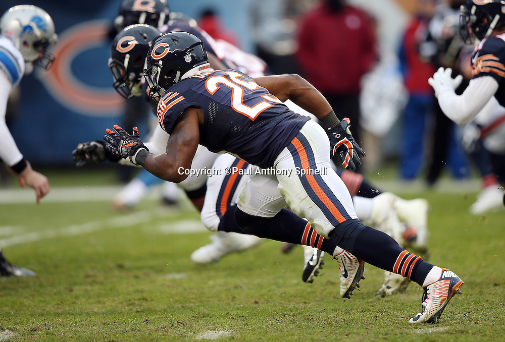 Chicago Bears running back Ka'Deem Carey (25) makes a move during the NFL week 17 regular season football game against the Detroit Lions on Sunday, Jan. 3, 2016 in Chicago. The Lions won the game 24-20. (©Paul Anthony Spinelli)