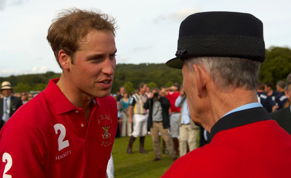 HRH Prince \William Wales plays polo at the Rundle Cup scoring a couple of important gols. One of his Polo ponies  from Highrove won the best tuned out prize. HRH   had a friendly chat with few Chealse Pensioner that were attending the match..
