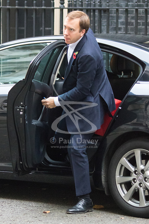 Downing Street, London, October 27th 2015.  Matt Hancock, Minister for the Cabinet Office, arrives at 10 Downing Street to attend the weekly cabinet meeting. /// Licencing: Paul Davey tel: 07966016296 or 02089696875 paul@pauldaveycreative.co.uk www.pauldaveycreative.co.uk