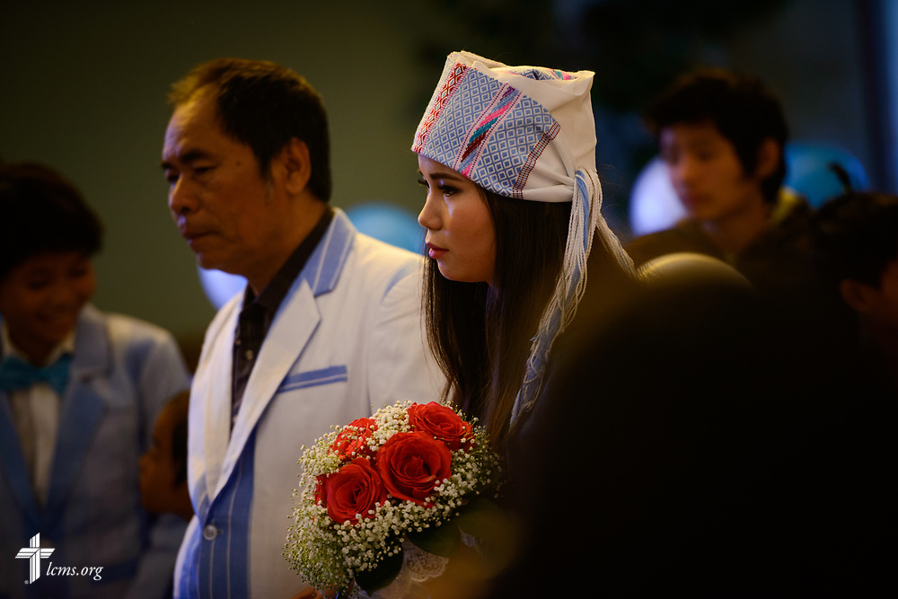 Bride Ler Moo is escorted into the sanctuary during a Burmese wedding at New Vision Lutheran Church, Spokane, Wash., on Saturday, June 17, 2017, in Spokane. LCMS Communications/Erik M. Lunsford